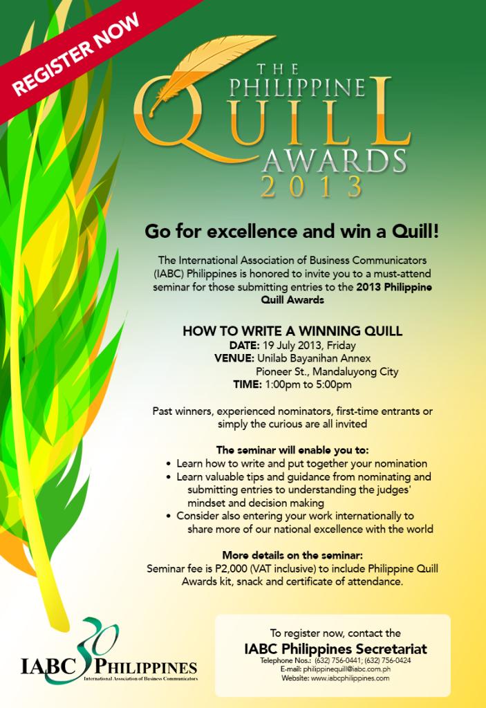 2013 PhilQuill Seminar Invite- July 19, 1-5pm.