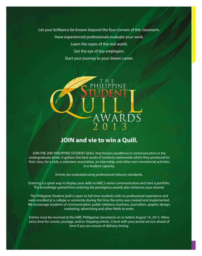 2013 Student Quill Awards poster