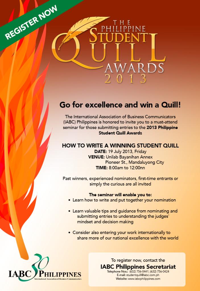 2013 Student Quill Seminar Invite- July 19, 9-12nn.