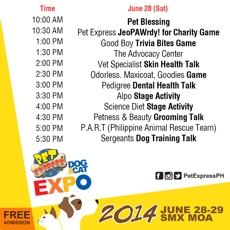 Dog and Cat Expo Day 1 Schedule - June 28