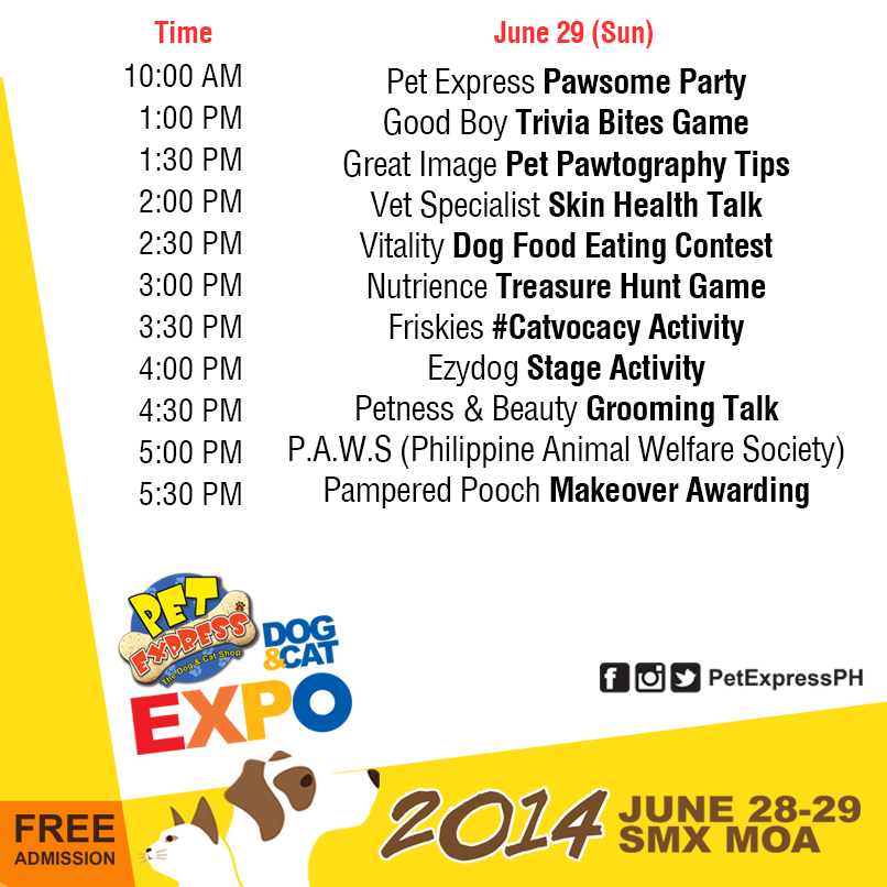 Dog and Cat Expo Day 2 Schedule - June 29