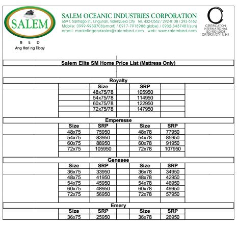 Salem Elite Collection price List gbt