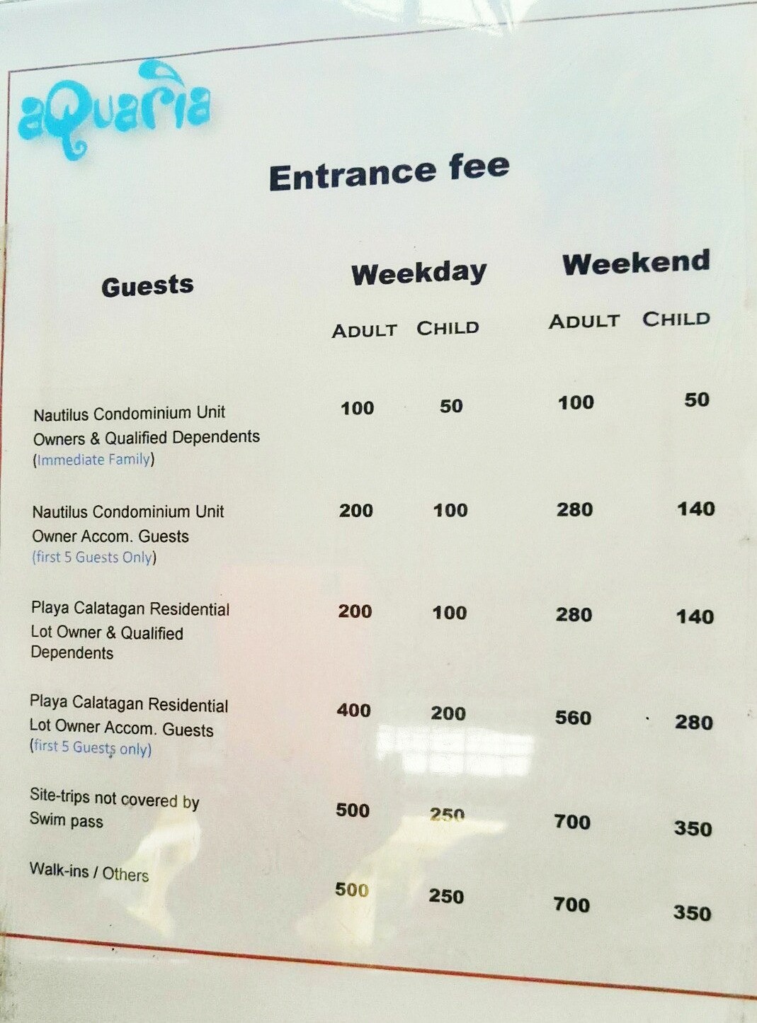 Aquaria Beach Resort Room Rates
