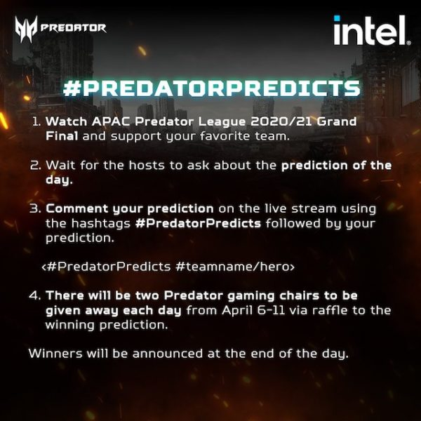 3 Ways to win win exclusive prizes from Asia-Pacific Predator League 2020/21 Grand Final