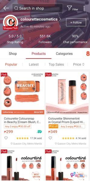 Colourette Cosmetics Shopee mall